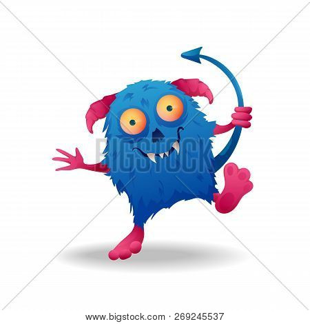 Vector Image. Funny Halloween Blue With Pink Horns Freak. Unusual Cartoon Character Monster, Cute An