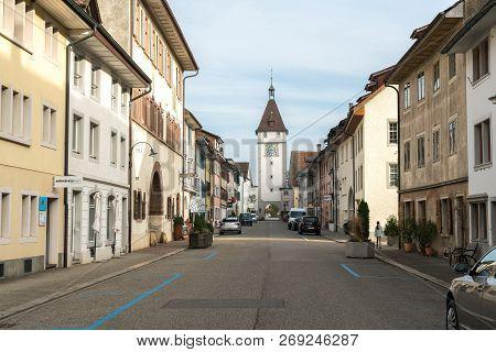 Neunkirch, Sh / Switzerland - November 10, 2018: Historic Village Of Neunkirch Almost Completely Emp