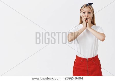Oh My, Amazing. Portrait Of Impressed Emotive Beautiful Blond Woman In Stylish Outfit And Headband,