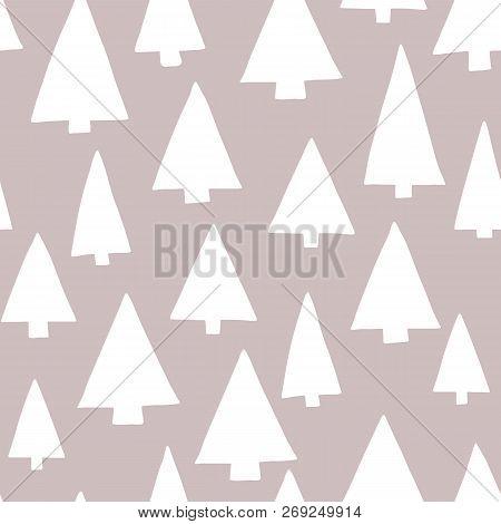 Christmas Tree Silhouettes White On A Gray Background. Modern Elegant Christmas Tree Pattern. Seamle
