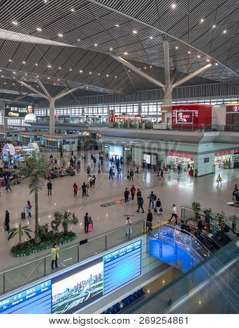 Xian, China - 18 October 2018: Chinese High Speed Train Station And Terminus At Xian In Shaanxi Prov