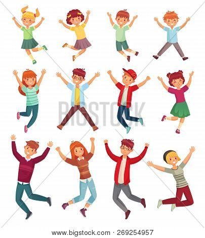 Jumping Kids. Excited Childrens Jump, Happy Jumped Teenagers And Smiling Child Jumps Cartoon Vector