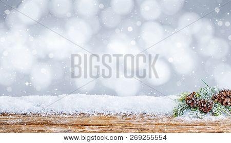 Snow Background Decoration White Wooden Wood Christmas Shine Snowflakes Branch Horizontal Table Desk