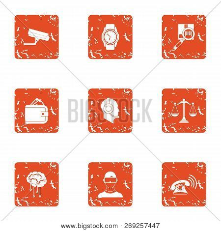 Online Journey Icons Set. Grunge Set Of 9 Online Journey Icons For Web Isolated On White Background