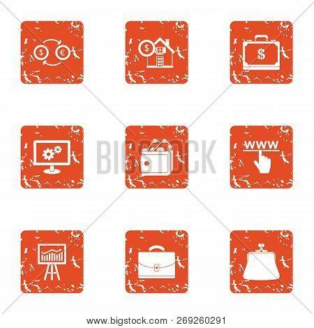 Coinage Icons Set. Grunge Set Of 9 Coinage Icons For Web Isolated On White Background