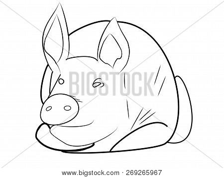 Simbol Of 2019 Year. Pig Or Hog  Isolated On White Background. Pork Meat. Design Element For Label,e