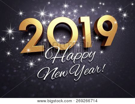 Black And Gold New Year 2019 Greeting Card