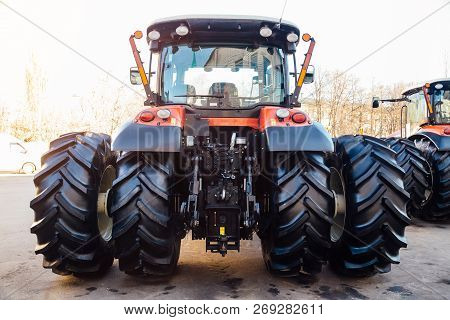 Rear View Of Modern Agricultural Tractor. Hydraulic Hitch. Lifting Frame. Rear Mechanism For Attachi