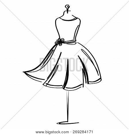Tailor Dummy Fashion Icon On White Background. Atelier, Designer, Constructor, Dressmaker Object. Bl