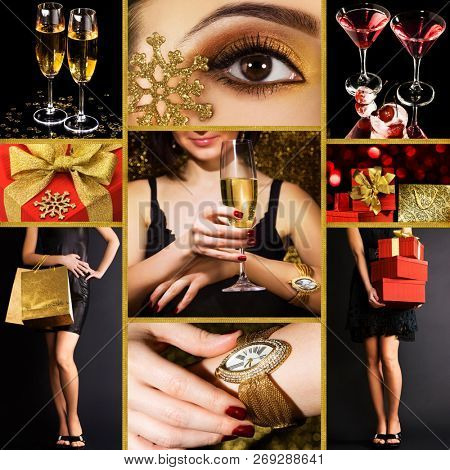 Collage of several photos for holiday or party theme. Collection for new year celebration.