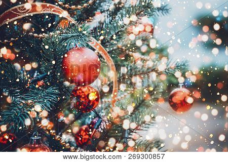 Christmas Tree With Red Ball Ornament And Decoration, Sparkle Light. Christmas And New Year Holiday