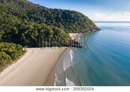 Aerial View Of Noah Beach Located On The Daintree Coast North Of Cairns. The Rainforest Meets The Oc
