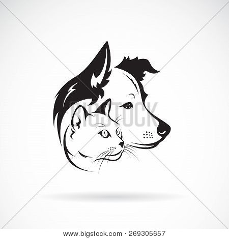 Vector Of Dog And Cat Head Design On A White Background. Pet. Animal. Easy Editable Layered Vector I