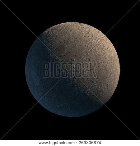 Earths Moon Isolated with Sunlight Illumination on Black Background. 3D Illustration. Surface Texture By NASA.