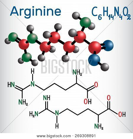 Arginine (arg, R) Amino Acid Molecule, It Is Used In The Biosynthesis Of Proteins . Structural Chemi