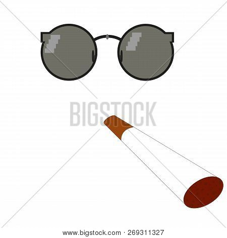 Glasses Pixel Vector Icon. Pixel Art Glasses Of Thug Life Meme And Smoke - Isolated On White Backgro