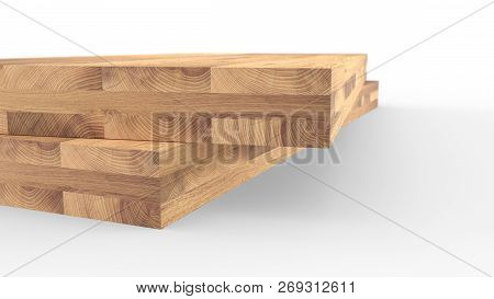Glued Wood Structure. Lumber Industrial Wood Texture, Timber Butts Background. Butt End Of A Process