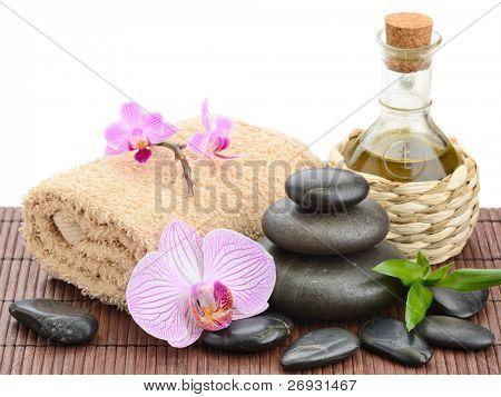 zen basalt stones and sea salt on the white