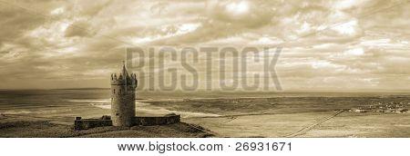 Doonagore castle in sepia