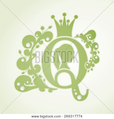 Vintage Queen Silhouette. Medieval Queen Profile. Elegant Silhouette Of A Female Head. Ponytail Hair