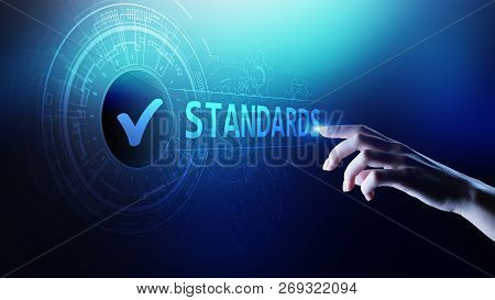Standard. Quality control. ISO certification, assurance and guarantee. Internet business technology concept. poster