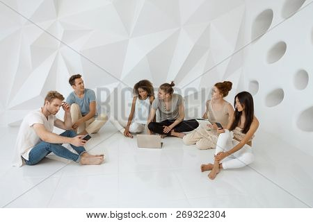 Diverse People Digital Device Connection Technology Concept. Groups Of Different People Sitting And