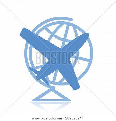 Airplane And Globe Symbol Isolated On White Background