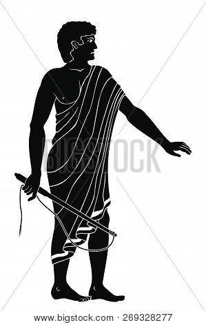 Ancient Greek Man With A Whip In His Hand. Manager At The Household Yard. Figure Isolated On White B