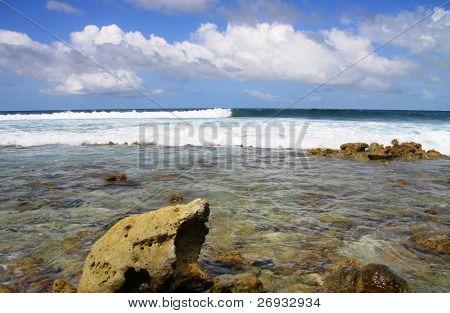 Rocky side of Maldivian island