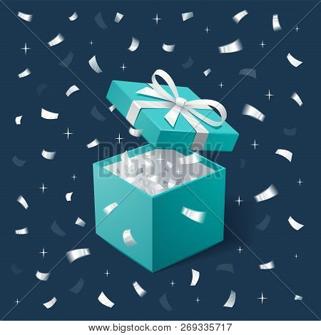 Gift Box And Silver Confetti. Teal Jewelry Box On Dark Background. Template For Cosmetics And Jewelr