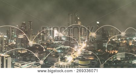 Networking Connect Technology Abstract Concept. Connecting Dots With Blur City Business Background.