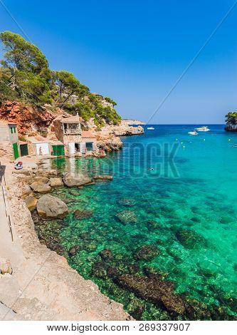 Idyllic View Of Cala Llombards Beach Bay, Majorca Island, Spain Mediterranean Sea