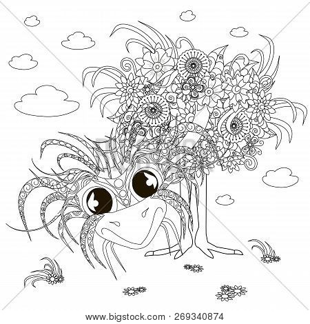 Flowers Ostrich, Coloring Page Anti-stress Monochrome Stock Vector Illustration For Print, For Web