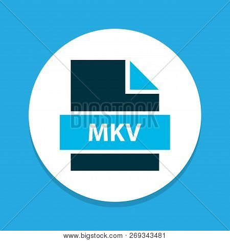 File Mkv Icon Colored Symbol. Premium Quality Isolated Multimedia Element In Trendy Style.