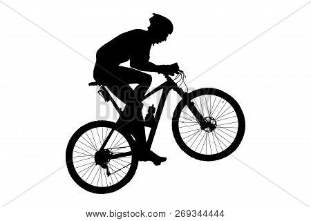 Man Cyclist Mountain Biker Riding Uphill Black Silhouette