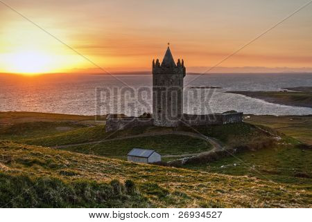 Doonagore castle at sunset