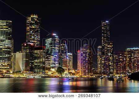 Brisbane, Australia - November 9 2018: Brisbane City Nightcape Riverside View From Kangaroo Point Bi