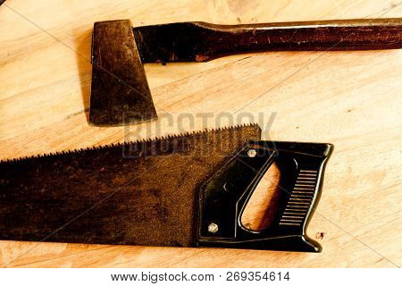 Saw And Axe For Carpenter On Wooden Background Tool Woodcraft Object Isolated