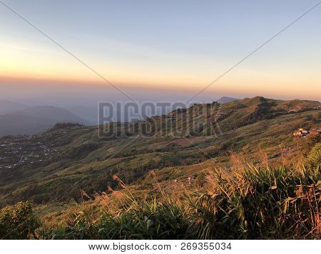 Majestic Sunset In The Mountains Landscape At Phu Tub Berk In Petchabun Thailand,hdr Image