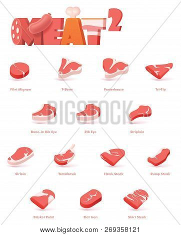 Vector Beef Cuts, Used For Cooking Steak And Roast - T-bone, Rib Eye, Porterhouse, Tomahawk, Filet M