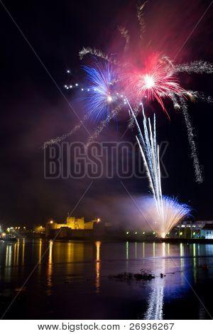Fireworks over King John Castle in Limerick - Ireland