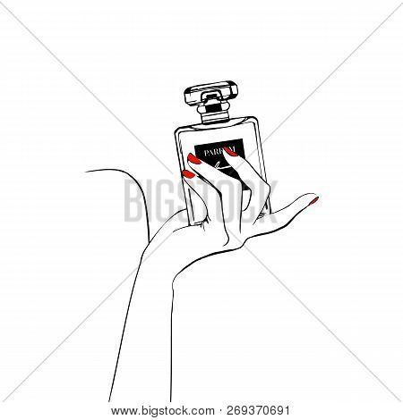 Women's Hand With Hand Draw Perfume Paris. T-shirt Printing Design, Typography Graphics. Hand Drawn