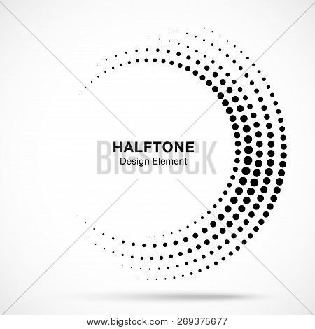 Halftone incomplete circle frame dots logo isolated on white background. Circular part design element for treatment, technology. Half round border Icon using halftone circle dots texture. Vector poster