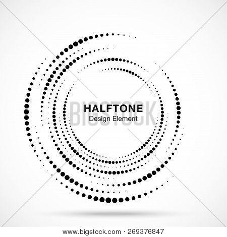 Halftone Vortex Circle Frame Dots Logo Isolated On White Background. Circular Swirl Design Element F