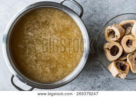 Bone Broth Bouillon In Metal Pan.