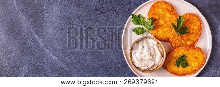 Potato pancakes, hash braun, top view, copy space poster
