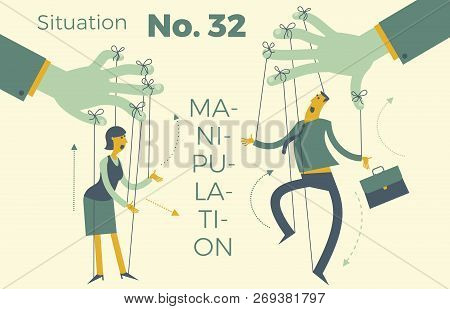 Business Infographics With Illustrations Of Business Situations. Businessman And Businesswoman Puppe