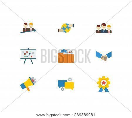 Technology Partnership Icons Set. Teamwork And Technology Partnership Icons With Technical Project,