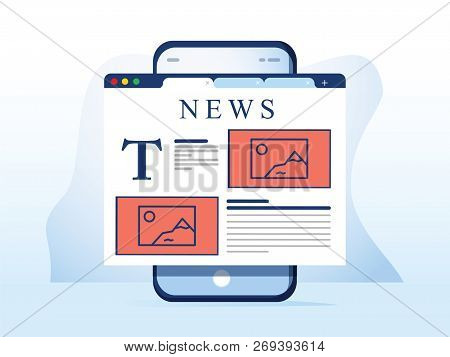 Reading News On Smartphone. Online Newspaper Website Opened In Mobile Browser On Smart Phone. News A