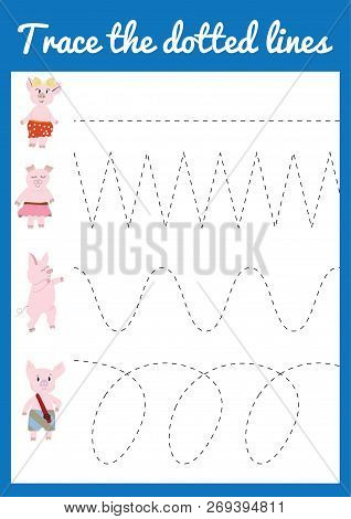 Handwriting Practice Sheet. Educational Children Game Trace The Line. Vector Illustration